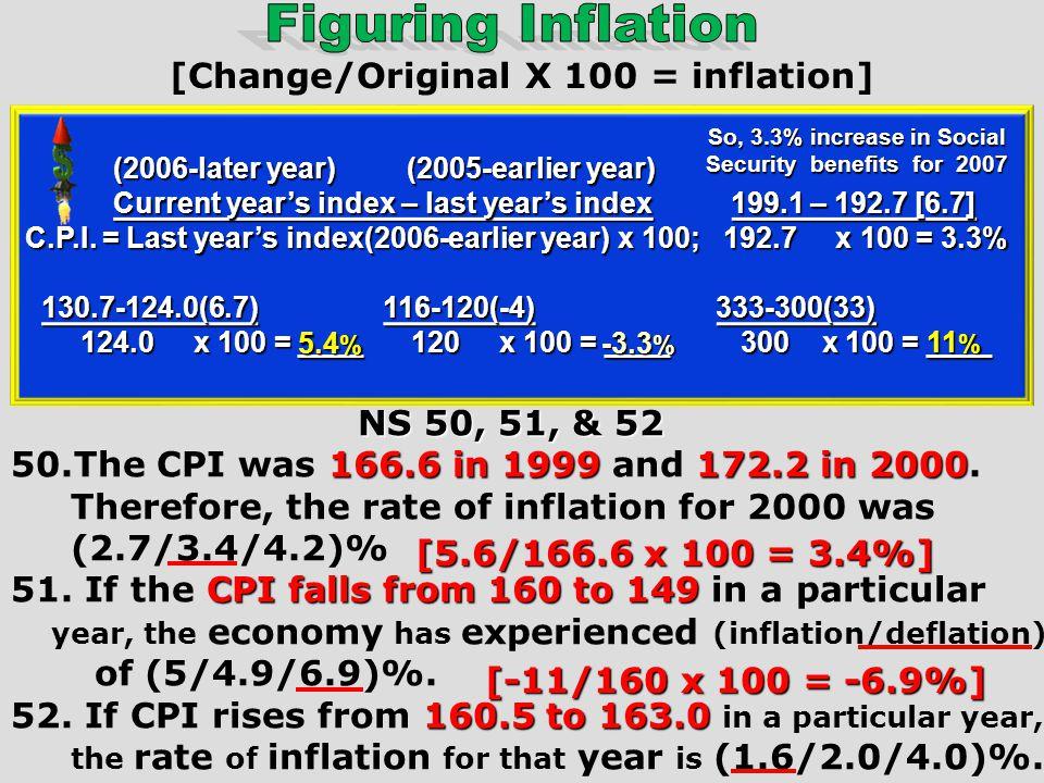 [Change/Original X 100 = inflation]